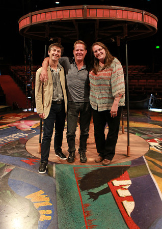 Beverly: From left, Richard Stafford, Director and Choreographer of Cats, Bill Hanney, Owner and Director of the North Shore Music Theatre, and Arianna Knapp, Artistic Director for NSMT, at center stage of the Cats set. David Le/Salem News
