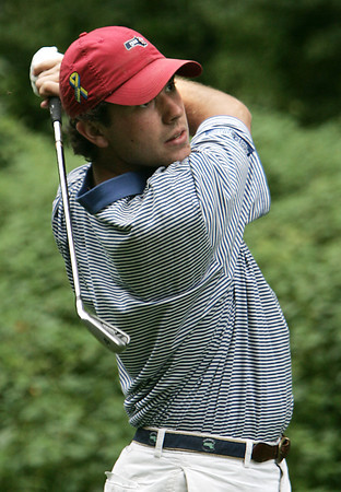 Boxford:<br /> Cameron Daley of Salem tees off toward the 8th hole during the North Shore Amateur Golf Tournament held at Far Corner Golf Club.<br /> Photo by Ken Yuszkus, Salem News, Tuesday, August 13, 2013.