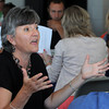 Salem:<br /> Assistant Superintendent For Teaching and Learning Kate Carbone presents her ideas in one of the discussion groups. All Salem school administrators are taking classes all week at the Winter Island function room to get ready for school.<br /> Photo by Ken Yuszkus, Salem News, Thursday, August 15, 2013.
