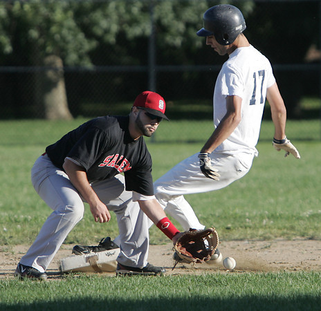 Salem:<br /> Hamilton-Wenham's Steve Haladyna is safe on 2nd base on a steal as Salem's Greg Speliotis is about to lose control of the ball at the Salem vs. Hamilton-Wenham Senior Babe Ruth Baseball playoff game played at the Palmer Cover baseball field.<br /> Photo by Ken Yuszkus, Salem News , Monday, August 5, 2013.