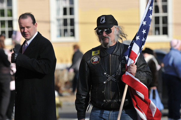 "Paul LeBlanc of Kittery Point,  Maine, right, represented the group ""Gathering of Eagles"". photo by Mark Teiwes / Salem News"