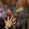 Christopher Maxson sheds tears as he listens to his father speak in Salem Superior Court on Dec. 17, before the court imposed a sentence for his fatal crash that killed Salem High honor student Julia Gauthier earlier this year.  Photo by Ken Yuszkus/Salem,  News, Friday,  December 17, 2010.
