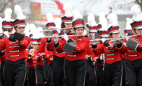 Beverly: The Salem High School marching band plays some holiday tunes during the 66th annual Beverly Holiday Parade on Sunday afternoon. David Le/Salem News