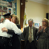 Beverly: Newly sworn in Police Chief John LeLacheur, left, gets a hug from his wife Fran, during a ceremony on Thursday afternoon, as other members of his family look on. DAVID LE/Staff Photo