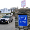 Ken Yuszkus/Staff photo. Ipswich: The signs at the entrance of Little Neck in Ipswich.