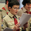 Peabody: Armando Cresta of Boyscout Troop 19 of Middleton sing Christmas Carols to residents at Brooksby Village on Tuesday afternoon. DAVID LE/Staff Photo