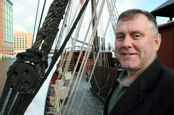 Ken Yuszkus/Staff photo: Swampscott resident Shawn Ford is on the ship The Beaver which is tied up at the Boston Tea Party Ships and Museum.
