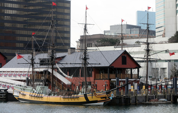 Ken Yuszkus/Staff photo: The ship Eleanor is tied up at the Boston Tea Party Ships and Museum.