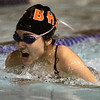 Ken Yuszkus/Staff photo. Danvers: Beverly's Eman Boufases swims the 200 free style during the Beverly at Danvers swim meet season opener.