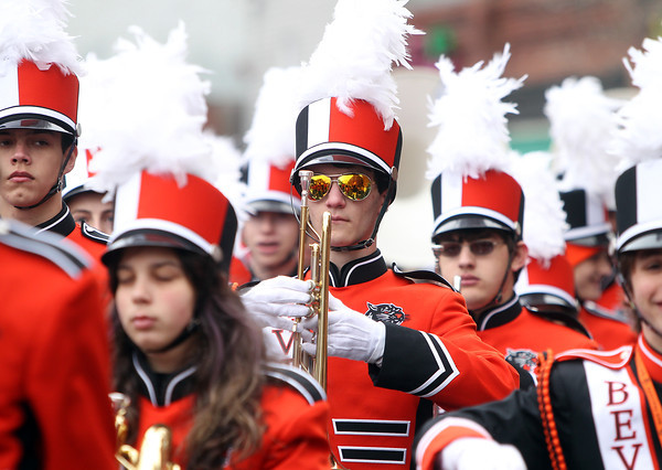 Beverly: A member of the Beverly High School marching band sports orange sunglasses during the 66th annual Beverly Holiday Parade on Sunday afternoon. David Le/Salem News