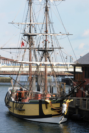Ken Yuszkus/Staff photo: The Beaver is tied up at the Boston Tea Party Ships and Museum.