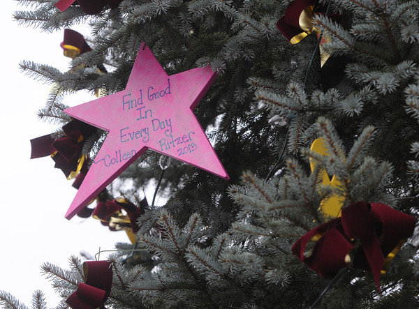 Ken Yuszkus/Staff photo. Danvers: Colleen Ritzer memorial ornament hangs on the Danvers Christmas Tree in Danvers Square.