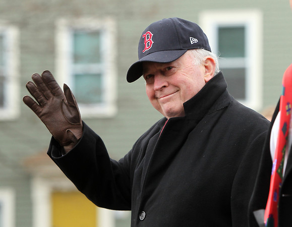 Beverly: Beverly Mayor Bill Scanlon waves to crowds lining Cabot St. during the 66th annual Beverly Holiday Parade on Sunday afternoon. David Le/Salem News
