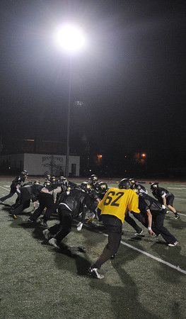 Peabody:<br /> The Bishop Fenwick football team practices for the Division 5 Super Bowl on Saturday.<br />  Photo by Ken Yuszkus / The Salem News, Monday, December 2, 2013.