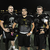 Peabody:<br /> The offensive line, from left, Tyler Kaufman, Charlie St. Pierre, Justice Andrade, Brandon DeBerardinis, and David Hurley at the the Bishop Fenwick football team practice. They are getting ready for the Division 5 Super Bowl on Saturday.<br />  Photo by Ken Yuszkus / The Salem News, Monday, December 2, 2013.