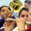 Ken Yuszkus/Staff photo: Danvers: Kendra Locke practices on her trombone during the Danvers High School Falcon Band practice. The band is heading off to the Magic Kingdom.
