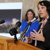 Ken Yuszkus/Staff photo. Salem Mayor Kim Driscoll speaks about the development of a casino in Revere at the press conference at Lynn City Hall. In the background is Lynn Mayor Judith Flanagan Kennedy.