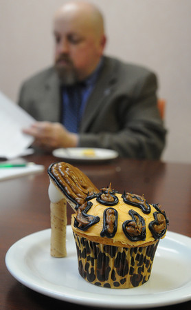 Ken Yuszkus/Staff photo: A cupcake made by Donnie Skelton sits on a plate ready to be judged at the Peabody Glen Health Care Center.