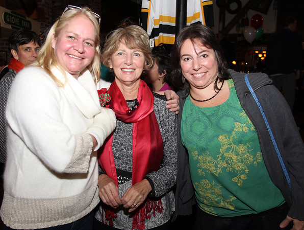 Salem: From left, Julianna Tache, Janis Manning, and Michele Meadows, at the 20th annual Salem Children's Charity party held at Victoria's Station in Salem on Tuesday evening. DAVID LE/Staff Photo