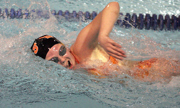 Ken Yuszkus/Staff photo. Danvers: Beverly's Andrea Higgins wins her heat in the 200 free style during the Beverly at Danvers swim meet season opener.