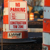 "Some Ipswich residents have complained about the North Main Street streetscape project, saying it reduces parking and access to the library. Traffic cones and ""No Parking"" signs mark off the construction areas. David Le/Staff Photo"