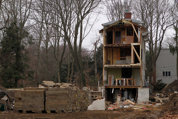 A house on Pickman Road was moved from one lot to another a few houses away on Tuesday afternoon. This is what is left of the previously occupied site. David Le/Staff Photo