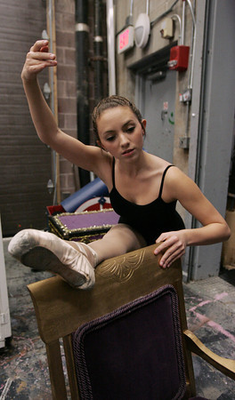 Marblehead:<br /> Gabrielle Rizzo stretches backstage before The Nutcracker rehearsal presented by the New England Ballet Ensemble.<br /> Photo by Ken Yuszkus/The Salem News, Monday, December 10, 2012.