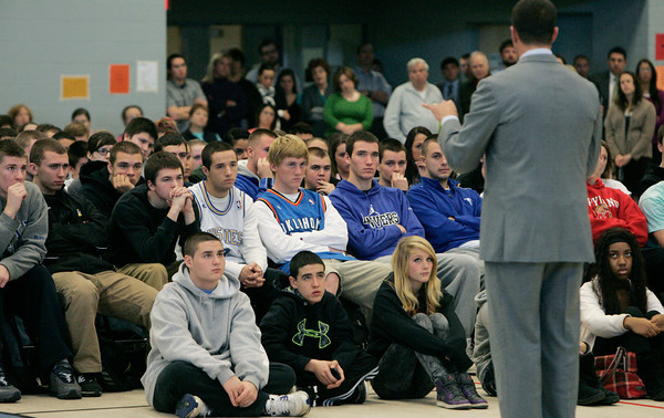 Danvers:<br /> Students listen to former Celtic Chris Herren as he speaks at Danvers High School.<br /> Photo by Ken Yuszkus/The Salem News, Thursday, December 6, 2012.