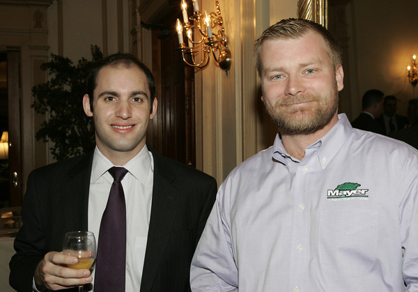 Salem:<br /> Sean Kreiman of Wylie Inn and Conference Center, left, and Richard Grant of Mayer Tree Service, attend the Salem Chamber annual holiday breakfast held at the Hawthorne Hotel.<br /> Photo by Ken Yuszkus/The Salem News, Thursday, December 13, 2012.