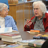 Hamilton:<br /> Joan Snavely, left, listens to Ann Driesen discuss a book she read during the Readers Club meeting. The Readers Club is celebrating 45 years as a club.<br /> Photo by Ken Yuszkus/The Salem News, Monday, February 4, 2013.