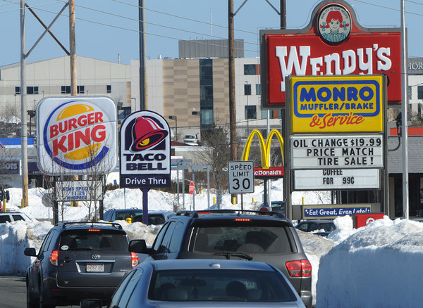 Danvers:<br /> McDonald's has no visibility so it wants a new sign along the roadway on Endicott Street in Danvers.<br /> Photo by Ken Yuszkus/The Salem News, Thursday, February 14, 2013.