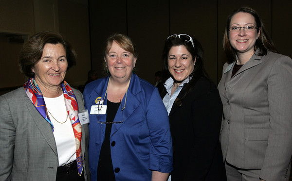 Peabody:<br /> From left, Annie Harris of Essex Heritage, Linn Parisi of Seaport Gloucester, Ann Marie Casey of the Mablehead Chamber of Commerce, and Kate Fox of Destination Salem attend the 7th annual tourism summit presented by the North of Boston Convention and Visitors Bureau at the Peabody Marriott.<br /> Photo by Ken Yuszkus/The Salem News, Friday, February 1, 2013.