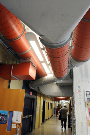 Salem:<br /> The new heat and air conditioning piping is noticeable in the hallways at the Collins Middle School.<br /> Photo by Ken Yuszkus/The Salem News, Tuesday, February 26, 2013.