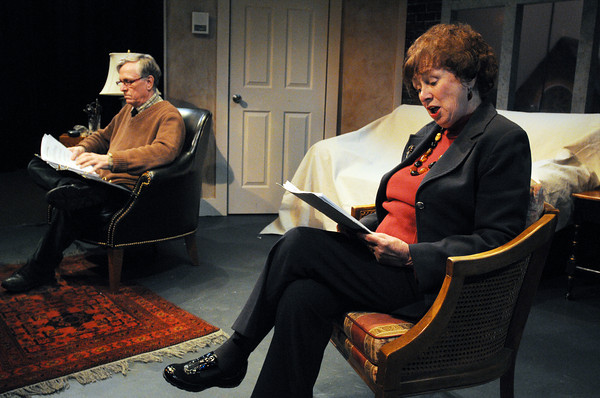 """Salem:<br /> John Archer and Patricia Zaido are starring in """"Love Letters,"""" a play that is an exchange of letters between a man and a woman over the course of their lives.<br /> Photo by Ken Yuszkus/The Salem News, Tuesday, February 19, 2013."""