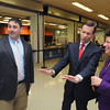 Beverly:<br /> From left, assistant principal Terry Conant, State Treasurer Steven Grossman, and school committee president Maria Decker stop in the cafeteria during their tour of Briscoe Middle School. <br /> Photo by Ken Yuszkus/The Salem News, Tuesday, February 12, 2013.