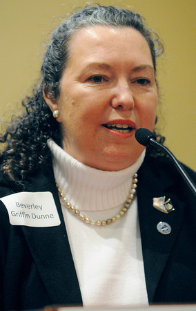 Peabody:<br /> Candidate for state rep in Peabody Beverley Griffin Dunne speaks at the podium during the forum at Brooksby Village.<br /> Photo by Ken Yuszkus/The Salem News, Wednesday, February 27, 2013.