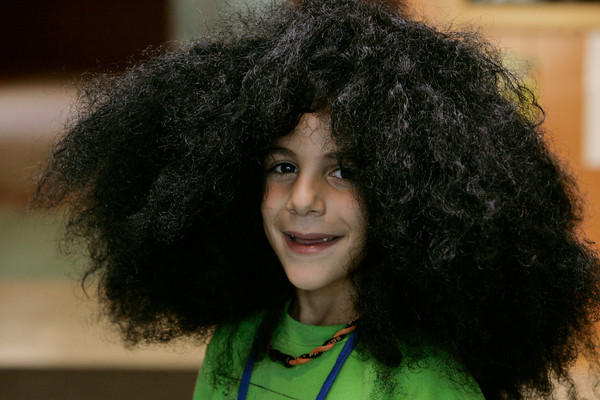 Beverly:<br /> Max Hemsey, 2nd gader at Centerville School wears a wig for the Weird Hair Day at the school.<br /> Photo by Ken Yuszkus/The Salem News, Thursday, October 11, 2012.