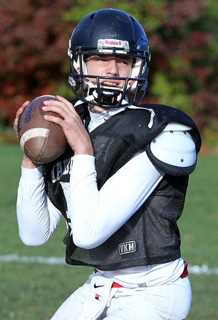 Marblehead senior quarterback Ian Maag drops back to pass during practice on Wednesday afternoon. Maag and the undefeated Magicians welcome the Gloucester Fishermen on Friday evening. David Le/Staff Photo