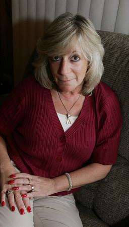 Peabody:<br /> Sherri Temkin is a breast cancer survivor. <br /> Photo by Ken Yuszkus/The Salem News, Monday, October 8, 2012.