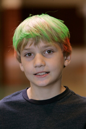 Beverly:<br /> Troy Morin, 3rd grader at Centerville School has his hair dyed green and red for the Weird Hair Day at the school.<br /> Photo by Ken Yuszkus/The Salem News, Thursday, October 11, 2012.