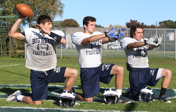 Swampscott senior quarterback Brian Santry, left, and senior wide receivers Aaron Cronin, and Robert Serino, look to lead the Big Blue on Saturday afternoon against Salem. David Le/Staff Photo