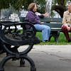 Salem:<br /> Betty Reas, left, and Diane Rowand-Burns, both of Salem, chat while seated on a bench at Salem Willows. Diane's dog Emily stands nearby.<br /> Photo by Ken Yuszkus/The Salem News, Tuesday, October 9, 2012.