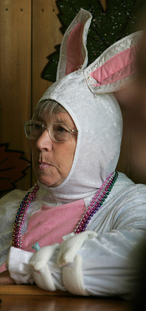 Topsfield:<br /> Norma Horsch of Haverhill, is dressed as a rabbit while collecting money for the ECRCVA raffle in the rabbit barn at the Topsfield Fair.<br /> Photo by Ken Yuszkus/The Salem News, Monday, October 8, 2012.