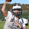 Swampscott quarterback Brian Santry fires a pass at practice on Thursday afternoon. Santry looks to lead the Big Blue against Salem this Saturday afternoon at Blocksidge Field. David Le/Staff Photo