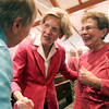 US Senate candidate Elizabeth Warren, center, shakes hands and chats with Joyce Bergsten, left, and June Vingiello, right, two Brooksby Village residents, after Warren gave a speech and answered questions in the Interfaith Chapel  at Brooksby Village on Monday afternoon.