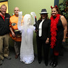 "From left, John Posiviata, Johns Somes, Fran Dichner, and Laurie Lassiter, at the Beverly and Peabody Chamber of Commerce's ""Spooktacular"" event on Thursday evening. David Le/Staff Photo"