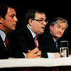 Danvers:<br /> From left, Richard Tisei, Daniel Fishman, and John Tierney during the debate at Danvers High School.<br /> Photo by Ken Yuszkus/The Salem News, Wednesday, October 10, 2012.