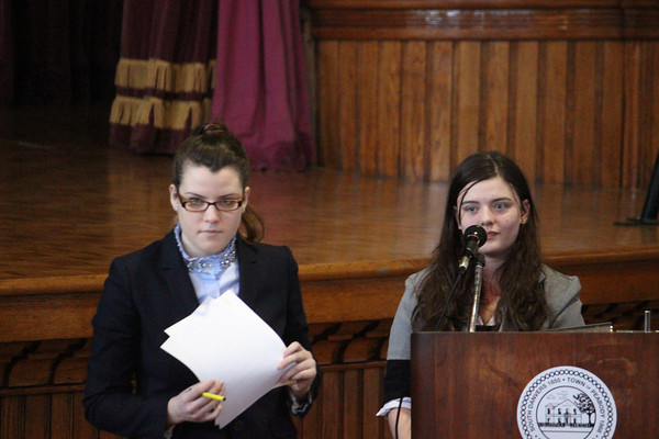 Alan Burke/Staff photo<br /> Defense attorney Melissa McCarthy, left, questions witness Courtney McNeil, taking the part of real life witness James Burns, in the mock trial of Civil War prison camp commander Henry Wirz yesterday.