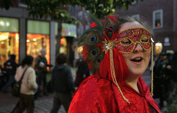 Nicole Briggs of Halifax at the pedestrian mall during Halloween in Salem.<br /> Photo by Ken Yuszkus.