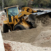 Beverly:<br /> In preparation of the upcoming storm the seawall is being exposed by excavating the sand at the Dane Street Beach.<br /> Photo by Ken Yuszkus/The Salem News, Friday, October 26, 2012.